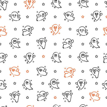 Halloween seamless pattern - scary little ghost or dead soul on white background, outline funny ghosts faces, traditional halloween symbol, textile or scrapbook digital paper - vector Stock Illustratie