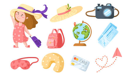Traveling cartoon cute girl with suitcase and sun hat - kids travel or vacation clipart bundle, character with globe, air tickets, camera, backpack, pillow isolated elements on white background vector