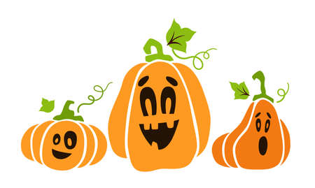 Halloween pumpkin bundle - jack o lantern face, funny creepy cartoon flat holiday characters for festive party decoration, clothes print, horror autumn set - vector graphic elements