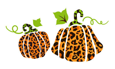 Halloween leopard print pumpkins with leaves, animal print autumn isolated pumpkin cliparts, jack o lantern funny cartoon flat holiday elements for party decoration, clothes print - vector