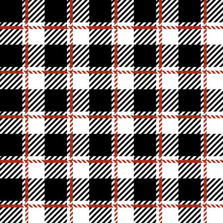 Buffalo plaid print seamless pattern, black and white Lumberjack print, plaid check pattern for textile texture, Hipster flannel manly shirt fabric ornament, checkered vector digital background