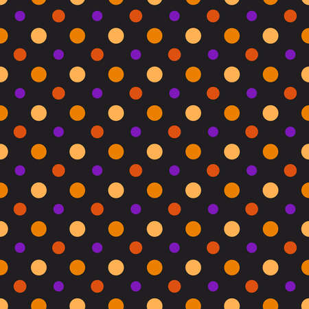 Halloween seamless pattern - abstract geometric ornament in tradition halloween colors - orange, black, purple. Polka dot seamless background for textile or digital scrapbook paper - vector