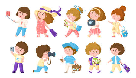 Traveling cartoon cute boys and girls, kids travel or vacation clipart bundle, characters with trip suitcase, camera, mobile phone, map, sun hat, coffee - isolated elements on white background vector 向量圖像