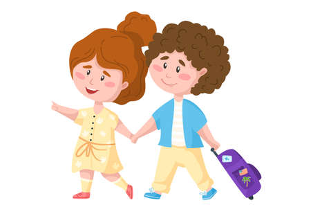 Traveling cartoon romantic couple of tourists - boy and girl walking, kids travel or vacation clipart, characters with trip suitcase - isolated elements on white background vector Ilustração