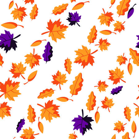 Halloween autumn theme seamless pattern - orange and dark purple fall leaves on white background, scrapbook digital paper