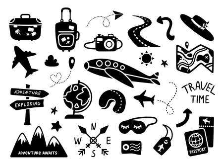 Traveling black silhouettes, kids travel or vacation clipart bundle - plane, palm tree, suitcase, air tickets, map, globe, road pointer, camera, backpack