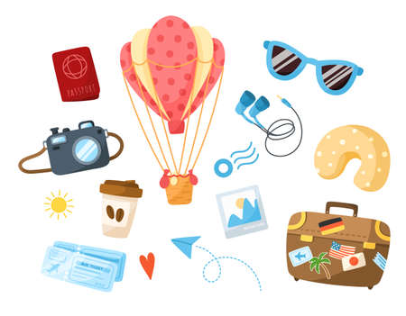 Travel cartoon bundle - hot air balloon, suitcase, coffee cup, sunglasses, camera, post stamp, paper plane, passport, traveling vacation clipart set isolated elements on white background - vector