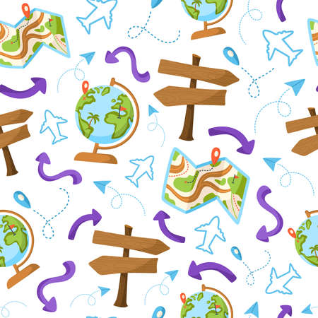 Travel seamless pattern cartoon, travel or vacation theme accessories - map, road pointer, globe, plane, arrow and map mark