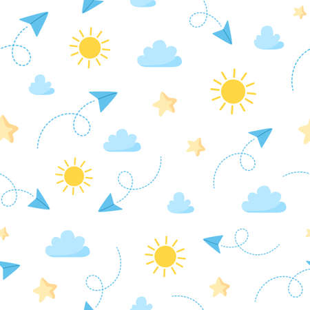 Travel seamless pattern - paper plane, sun, clouds and stars on white background, simple travel trip or vacation theme pattern Stock Illustratie