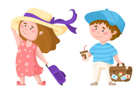 Traveling cartoon cute boy and girl, kids travel or vacation clipart, couple of characters with suitcase, coffee, sun hat, tourists have summer trip - isolated elements on white background vector
