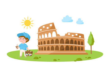 Travel cartoon boy with coffee and suitcase and colosseum, landmark or world place composition and cute kids character, isolated on white background vector illustration