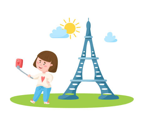 Travel cartoon girl taking selfie photo with eiffel tower, landmark or world place composition and cute kids character, isolated on white background vector illustration