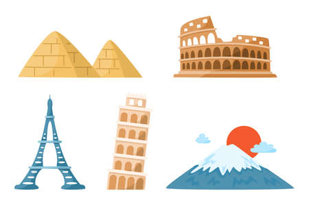 World Travel cartoon landmarks bundle, world places clipart set with colosseum, leaning tower of pisa, eiffel tower, mount fuji, egyptian pyramids - isolated elements on white background vector