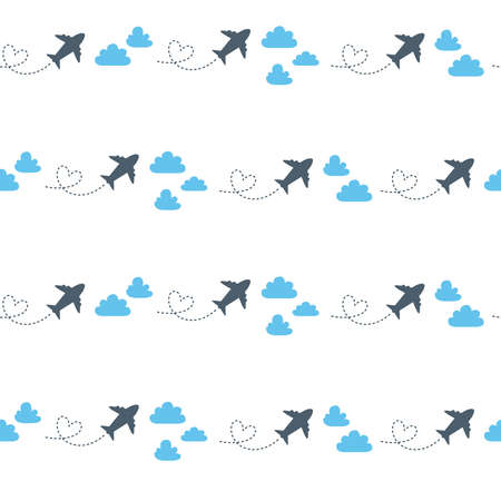 Travel seamless pattern, abstract simple travel, trip or vacation theme background with cartoon paper plane, clouds and strips on white - vector endless texture or scrapbook digital paper
