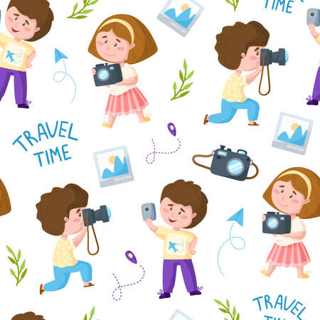 Travel seamless pattern - cartoon kids girl and boy, trip or vacation theme photo camera, map mark, paper plane, cute characters on white background - vector endless pattern or scrapbook digital paper