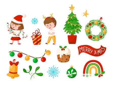 Christmas and New Year kids clipart - cartoon boy and girl, Christmas wreath and Tree, golden bell, festive decorations, mistletoe, rainbow, gift box, garland, sweet cake - vector isolated images set
