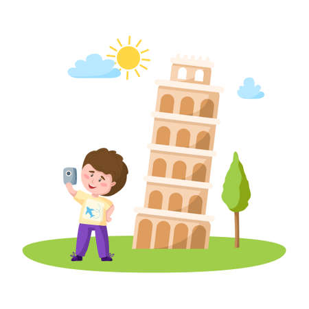 Travel cartoon boy take selfie with leaning tower of pisa, italian landmark or world place composition and cute kids character, isolated on white background vector illustration