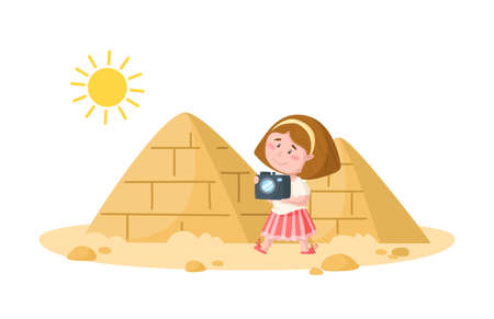Travel cartoon girl witch camera and egyptian pyramids, landmark or world place composition and cute kids character, isolated on white background vector illustration