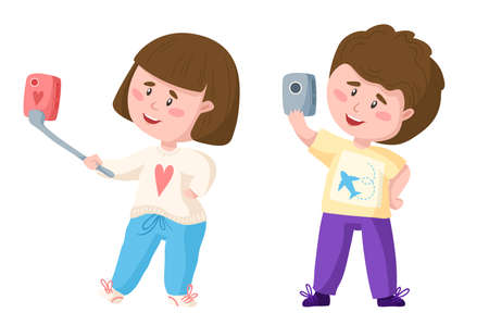 Traveling cartoon cute couple boy and girl with mobile phone do selfie, kids travel or vacation clipart, characters with camera - isolated elements on white background - vector illustration