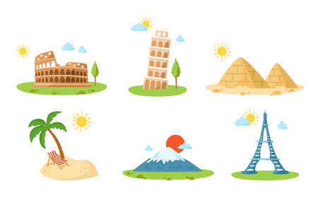 World Travel cartoon landmarks, world places cliparts with colosseum, leaning tower of pisa, eiffel tower, mount fuji, pyramids, tropical island with palm tree - isolated on white background vector