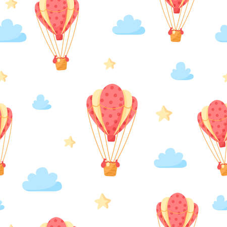 Travel seamless pattern - hot air balloon, clouds and stars on white background, simple girly travel trip or vacation theme pattern - vector endless texture or kids scrapbook digital paper