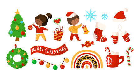 Christmas and New Year kids clipart - cartoon boy and girl, Christmas wreath and Tree, rainbow, decorations, gift box, garland, candy cane, santa hat, stoking, hot drink mug - vector isolated images