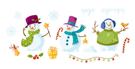 Snowman cartoon set - holidays or Christmas cute snowmen isolated on white background, winter character with scarf, hat, mittens, festive decorations - gift box, garland, candy cane, holly vector Illusztráció
