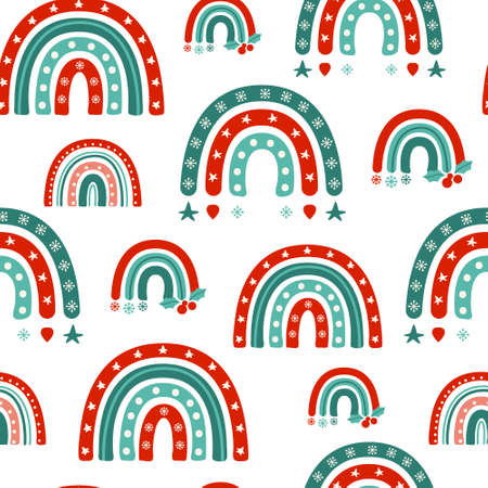 Christmas or New Year turquoise rainbow seamless pattern, childish cartoon rainbow in festive colors on white, nursery digital paper or kids vector background for wrapping, textile, scrapbook