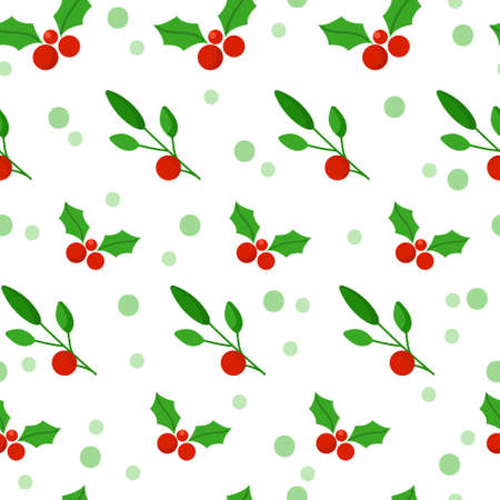 Christmas or New Year seamless pattern or digital paper - winter floral ornament with mistletoeand holly, festive green plant red berries, holiday endless background for wrapping, textile, scrapbook Çizim
