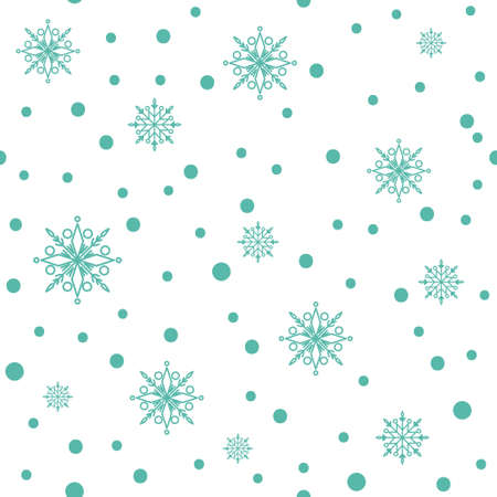 Christmas or New Year seamless pattern or digital paper - snowflake winter abstract ornament on white background, simple snow endless vector texture for wrapping, textile, scrapbook