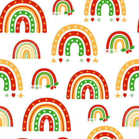 Christmas or New Year rainbow seamless pattern, childish cartoon rainbow in festive colors on white, nursery digital paper or kids vector background for wrapping, textile, scrapbook Çizim