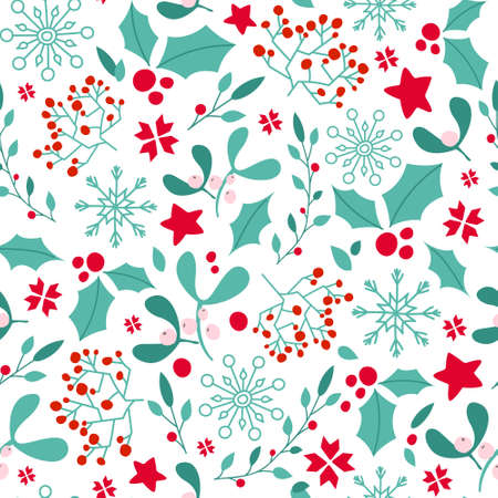 Christmas or New Year seamless pattern or digital paper - winter floral blue red ornament, holly, mistletoe, snowflake festive holiday vector endless background for wrapping, textile, scrapbook Çizim