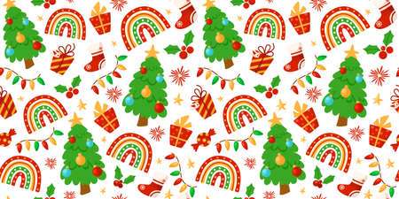 Christmas or New Year seamless pattern or digital paper - trendy Rainbow, garland, Christmas Tree, stocking, holly, festive holiday decorations, endless background for wrapping, textile, scrapbook