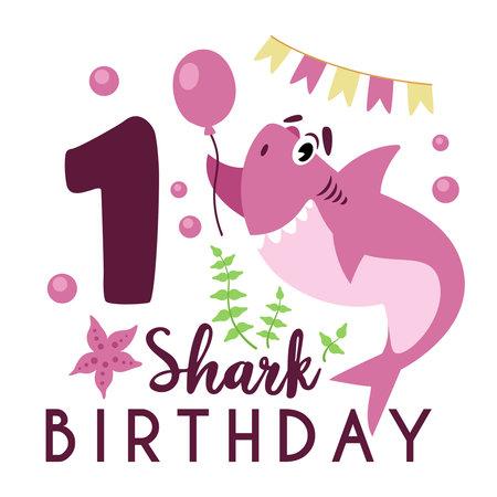 Baby Shark birthday party clipart - the first 1st baby birthday, nursery cartoon cute nautical illustration on white background, undersea animal vector