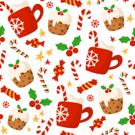 Christmas or New Year seamless pattern or digital paper - holly, red cocoa hot drink mug, candy cane, sweet cake on white, holiday endless background for wrapping, textile, scrapbook - vector