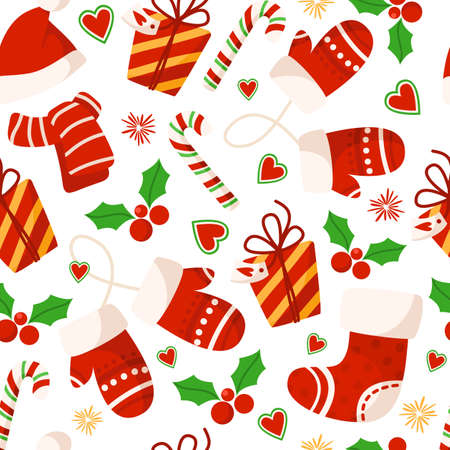 Christmas or New Year seamless pattern or digital paper - mittens, gift box, red santa hat and scarf, candy cane, holly on white background, holiday endless background for wrapping, textile, scrapbook