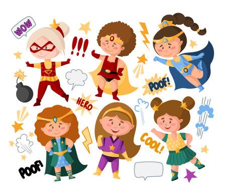Superhero cartoon girls in super costumes, speech bubbles, signs, isolated vector clipart on white background, cute female superhero comic books kids characters, childish illustration set Çizim