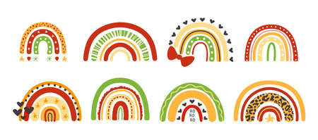 Christmas rainbow festive kids clipart - decorative brigh colorful rainbows with green, red, yellow color and leopard print, vector isolated images on white background