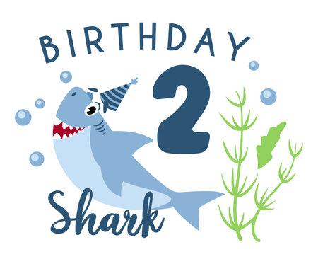 Baby Shark birthday party clipart - the second 2nd baby birthday, nursery cartoon cute nautical illustration on white background, undersea or marine animal vector Çizim