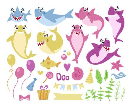Baby Shark birthday party clipart - cute cartoon sharks, fish, gift box, balloon, flags garland, starfish - nursery nautical isolated elements on white background, undersea marine animal vector