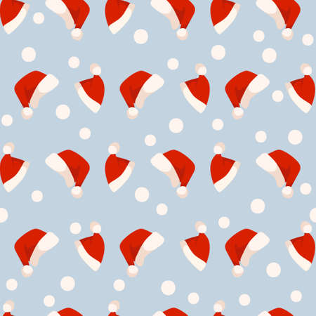 Christmas or New Year seamless pattern or digital paper - Santa Clause hat on blue background, simple festive holiday ornament or endless texture for wrapping, textile, scrapbook Çizim