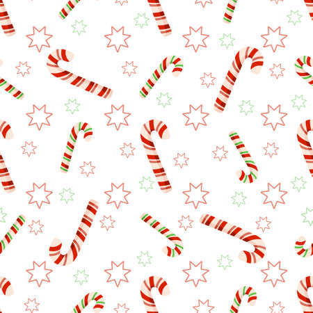Christmas or New Year seamless pattern or digital paper - candy cane and stras simple abstract cartoon ornament, festive holiday sweets endless background for wrapping, textile, scrapbook