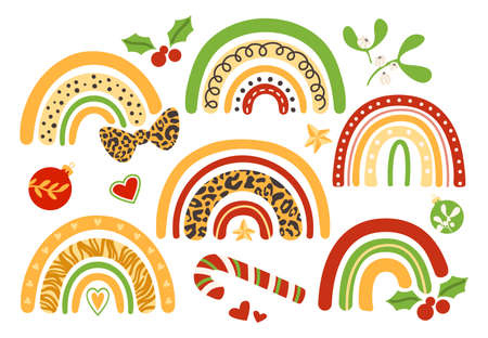 Christmas rainbow kids clipart - decorative colorful and leopard printed rainbow, bow, candy cane, holly, mistletoe, holiday ornaments - vector isolated images on white background