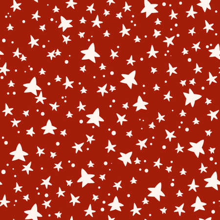 Christmas or New Year seamless pattern or digital paper - white stars on red background, abstract random holiday endless background for wrapping, textile, scrapbook - vector Çizim