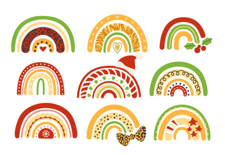 Christmas rainbow kids clipart - decorative colorful and leopard printed rainbow, bow, santa hat, holly, stars, holiday ornaments - vector isolated images on white background