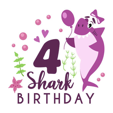 Baby Shark birthday party clipart - cartoon baby birthday composition, vector nursery cute nautical or undersea animal illustration on white background for card, invitation, t-shirt desing
