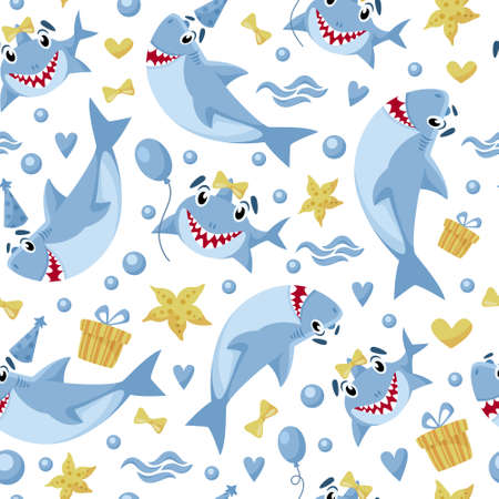 Baby Shark birthday seamless pattern - cartoon birthday party seamless digital paper, vector nursery cute nautical or undersea animal background for kids textile, scrapbooking, wrapping paper