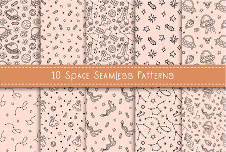 Space black white doodle seamless pattern set - hand drawn line digital paper with space, stars, ufo, galaxy, spaceship, rocket, cute kids seamless background for textile, scrapbooking, wrapping paper