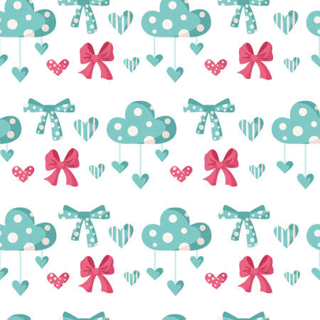 Valentine day cartoon seamless pattern - cute kids valentine bow, cloud, heart, nursery endless digital paper in pink and peppermint color, background for textile, scrapbooking, wrapping paper