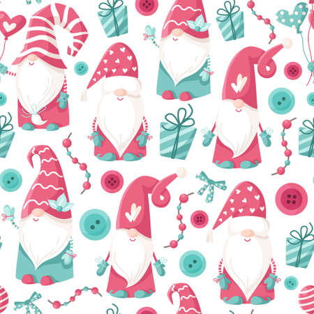 Valentine cartoon gnome seamless pattern - cute valentine day characters for kids, nursery dwarfs endless digital paper in pink and peppermint color, background for textile, scrapbooking, wrapping